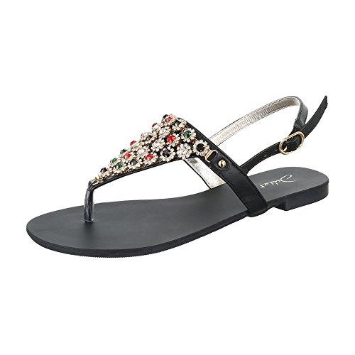 Zehentrenner Damen Schuhe Peep-Toe Blockabsatz Strass Besetzte Schnalle Ital-Design Sandalen / Sandaletten Schwarz