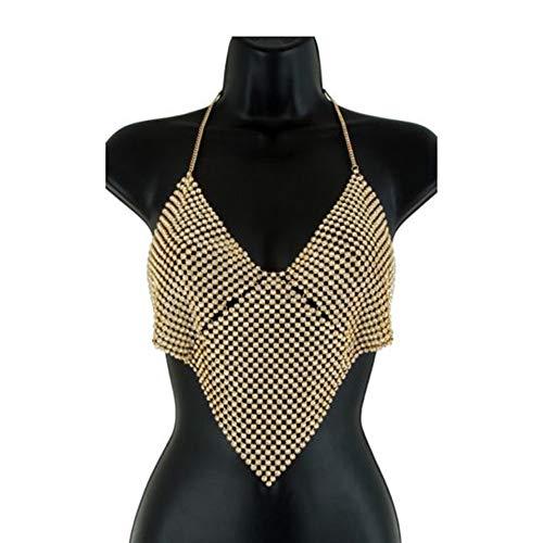VICKY-HOHO Körperschmuck Damen Beinkette Münzen Anhänger Körperkette,1PC Shiny Women Strass Körperschmuck Bein Oberschenkel Kette Crystal (Gold) (GOLD, Legierung, Strass)