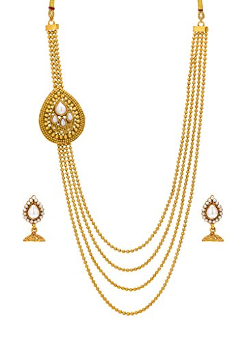 Bindhani® Traditional Multi-Strand Long Rani Har (Haar) Pearl Necklace Jhumki Earrings Set For Women  available at amazon for Rs.443