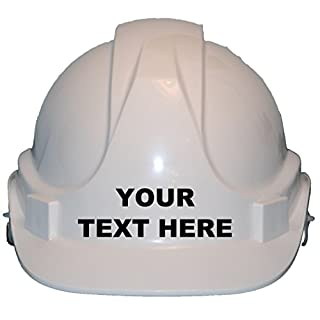 Personalised Bespoke With Own Wording Children, Kids Hard Hat Safety Helmet With Chin Strap One Size Adjustable Suitable for 4-12 Years White