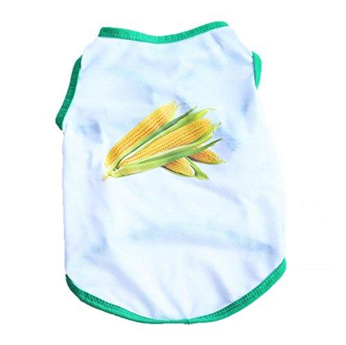 ya Welpen Katze Sommer Print Mais Baumwolle T-Shirt Kostüme Apparel Kleidung Jacke (Mais Hund Kostüme)