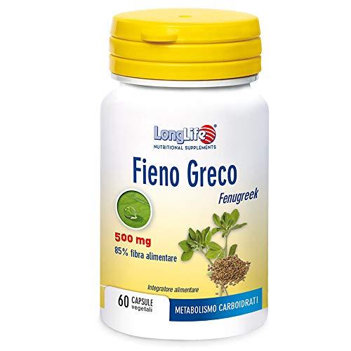 Long life - Fieno Greco 500 mg - 60 capsule da 0,620 g   Forma fisica, glicemia, metabolismo carboidrati, colesterolo