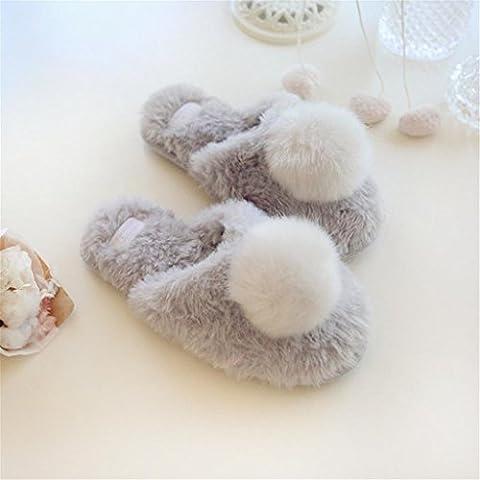 Chaussons Chaussures de maison douces et confortables Chaussons de coton en plein air Chaussons de chaussures à talons en fourrure en fourrure à trois dimensions en trois dimensions , 38-39 , gray