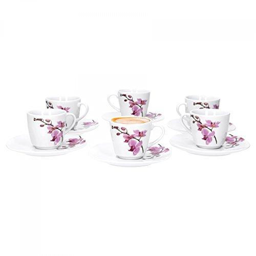 VAN WELL - Juego de Tazas de café expreso (6 Piezas, con platillos), diseño de orquídea