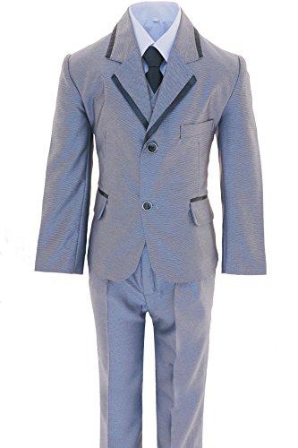 Gillsonz A572 5-tlg.Kinder festlich Junge Kommunions Hochzeit Anzug (92/98, Grau)