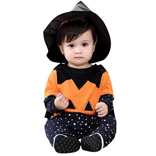 Neonato Halloween Manica Lunga Viso + Pantaloni a Forma di Stella + Cappotto + Cappellino a Punta Set di 4 Pezzi Neonato Halloween Top sorridenti + Pantaloni + Cappotto + Cappellino Completi 4 Pezzi