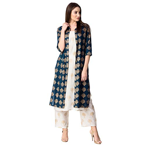 KHUSHAL Womens Cotton Printed Jacket Kurta With Palazzo Pant Set(Blue, Medium)