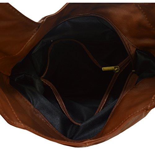 CTM Borsa a spalla da donna in vera pelle made in Italy D6170 - 41x55x12 Cm Marrone