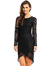 Damen Spitzenkleid Cocktailkleid Abendkleid Etuikleid aus Spitze asymmetrisch