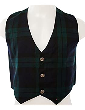 Kids Scottish Waistcoat In Black