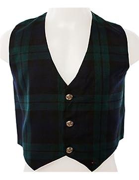 Kids Scottish Waistcoat In Black Watch Tartan Design Size 10