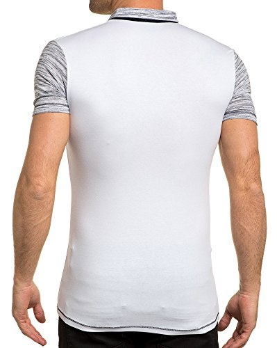 BLZ jeans - Polo voll weiß gestreiften Ärmeln Weiß