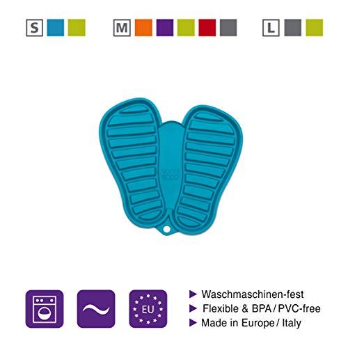 Sanni Shoo, Shoo.pad, Flexible, waschmaschinen-Feste Schuh-Abtropf-Matte, Schuhablage, Schuhabtropfschale, Abtropf- und Schmutzfang-Matte für Kinderschuhe S (bis Schuhgrösse 31) türkis -