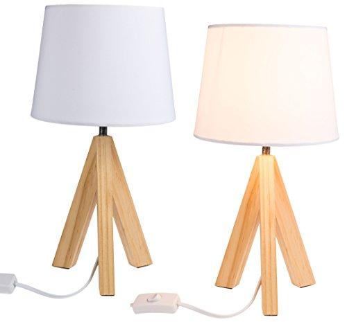 Bada Bing Tischleuchte mit Holzfuß Schirm weiß Lampe mit Holz Stativ Leuchte Trend