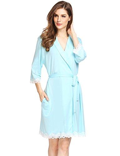 Avidlove Damen Sexy Morgenmäntel Robe Kurzer Kimono Silk Bademäntel Nachtwäsche Negligee (Silk-roben Sexy)