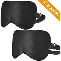 ykooe [2 Stück] Schlafmaske Verstellbarem Augenmaske natürliche Seide Nachtmaske für Frauen Herren - Schwarz preisvergleich bei billige-tabletten.eu