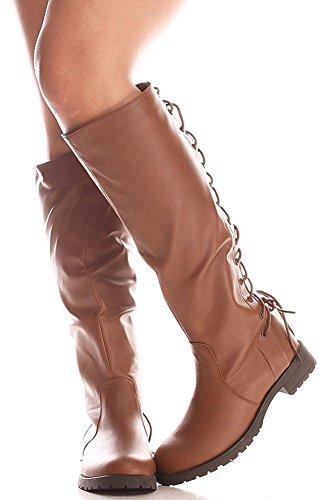 Funky Fourever da donna, ecopelle, con lacci, in pelle, lunghezza al ginocchio, invernali Marrone (Cognac)