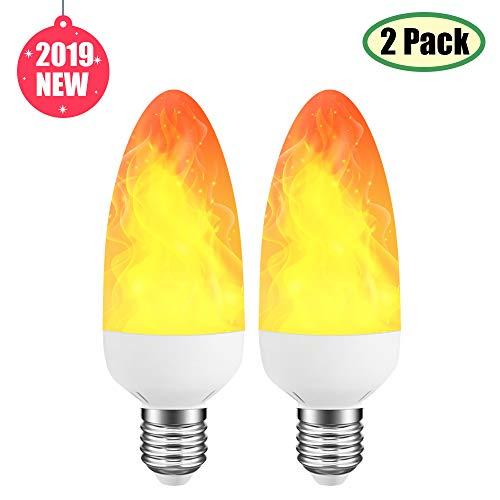 2019 LED-Flammen-Effekt-Glühbirne, dekorative Lichter für Innen/Außen/Bar/Hoteleinstellung, 3 W, Ersatz für 25 W Kerzenlampe, E14/E27, 2er-Set [Energieklasse A++]