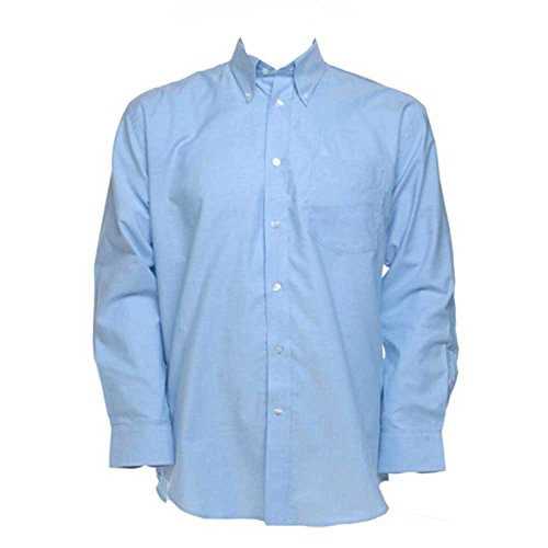 Kustom Kit Mens Workwear Oxford Long Sleeve Shirt Light Blue
