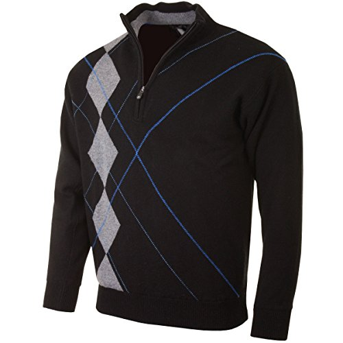 Golf Lambswool (2015 PROQUIP 1/2 Zip Lambswool Intarsia Lined Sweater Water Repellent Mens Golf Pullover Black Small)
