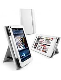 Tuff-Luv Bi-Stander Étui en cuir avec support intégré pour Amazon Fire–Blanc