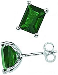 Elements Sterling Silver Ladies' E2832G Dark Green Crystal Rectangular Emerald Cut Earrings