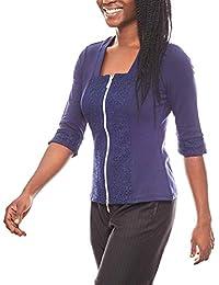 Patrizia DINI figurbetonte Bluse Damen Shirtbluse mit Spitze Shirt Blau 6b1f720712