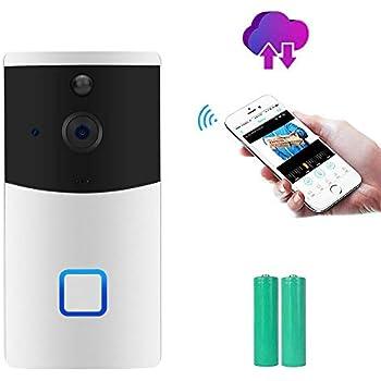 tiowea Home WiFi Smart Wireless Security Doorbell Visual Intercom Recording Video Door Chimes /& Bells