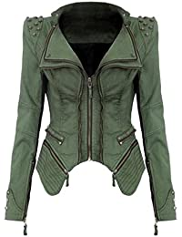 Jeans Giacca Donna Vintage Eleganti Con Chiusura A Cerniera Slim Ragazze  Giovane Fit Biker Jacket Manica 2572a3f3362a