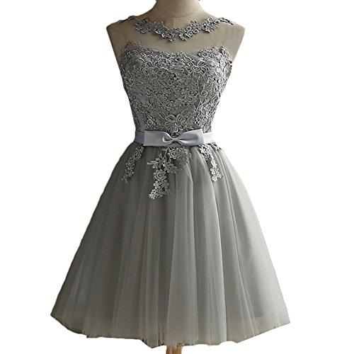 Robe de soir e grise courte pour demoiselle d 39 honneur sans manche dentelle florale monaloew - Robe demoiselle d honneur grise ...