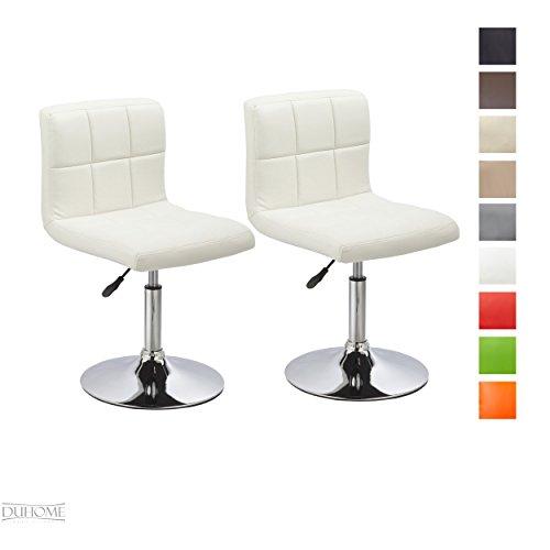 2er Set Moderner Esszimmerstuhl Weiß Kunstleder Küchenstuhl höhenverstellbar drehbar Stuhl Farbauswahl - TYP 451N