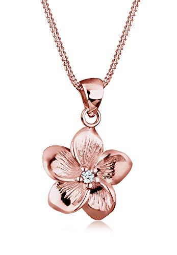 Elli Premium Damen-Kette mit Anhänger Blume Frangipani Blüte 925 Silber Diamant (0.03 ct) weiß Brillantschliff 45 cm - 0105991117_45