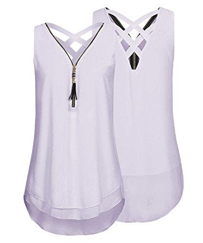 DEMO SHOW Damen Chiffon Bluse ärmellos V Ausschnitt Reißverschluss vorne zurück aushöhlen Shirt Tank Tops T Shirt (Helles Lila, L)