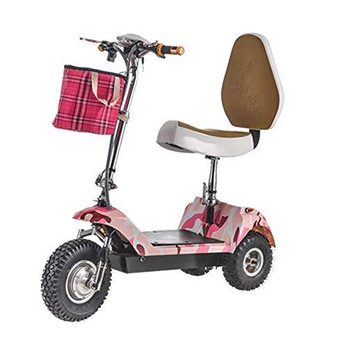 BOHENG Elektrofahrräder, Zusammenklappbares Dreirädriges Elektrofahrzeug, Mini-Elektrofahrrad Für Erwachsene, 48-V-Lithium-Batterie-Steuerfahrrad (Kann 113 Kg Standhalten),A