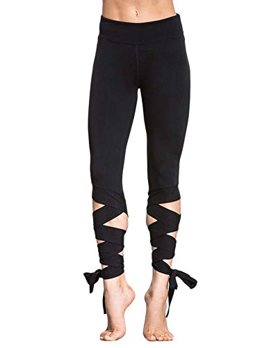 Mujer Slim Fitness Leggins Danza Cintura Elástica Deportivos Yoga Pantalones Negro S