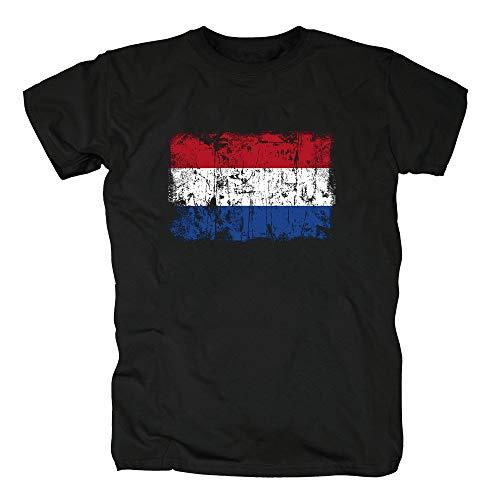 TShirt-People Países Bajos Holanda Vintage Flagge Fahne Camiseta para Hombre L Negro