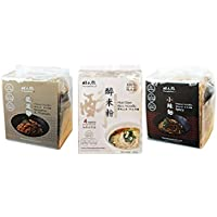 ShuangRenHsu Taiwan Sun Dried Quick Cook Noodles 3 Flavour Combo Set - Chinese Spicy Noodles + Chinese Sesame & Peanut Noodles + Hua Diao Rice Noodles
