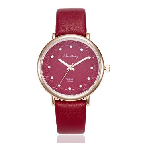 Kinlene Damen Mode Leder Band Analog Quarz Runde Armbanduhr Uhren Urhen