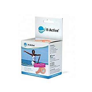 K-Active Kinesiology Tape Elite BEIGE with STRATAGEL®PLUS adhesive technology , water repellent and hypoallergenic, 50 mm x 5 m , 1 box set