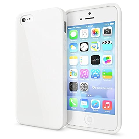 delightable24 Coque Case de Protection TPU Silicone Jelly pour Smartphone Apple iPhone SE / 5 / 5S - Blanc