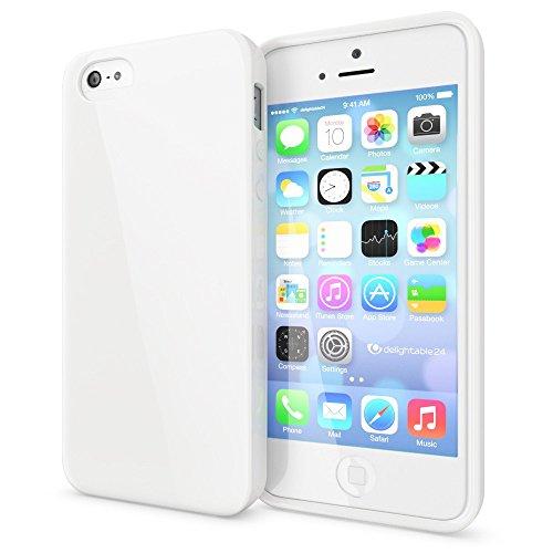 NALIA Handyhülle kompatibel mit iPhone SE 5 5S, Slim TPU Silikon Jelly Case, Dünnes Cover Gummi Schutzhülle Skin, Etui Handy-Tasche Telefon-Schale Thin-Fit Back-Cover Smart-Phone Bumper - Weiß