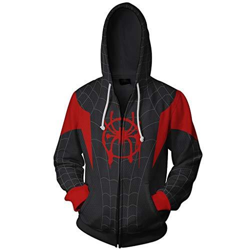YKJL 3D gedruckt Hoody Halloween Cosplay kostüm Spider Man in den spinnenvers Hoodie Film Fans Langarm Sweatshirt Clothing für Student,Schwarz,5XL