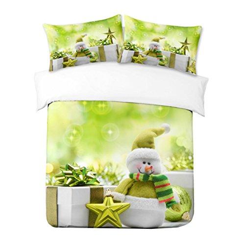 Adam Home 3D Digital Printing Bett Leinen Bettwäsche-Set Bettbezug + 2X Kissenbezug - Snowman In A Green Sweater (Alle Größen) -