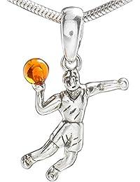 Sportanhänger Kette,Handballspieler Anhänger, Naturbernstein Kettenanhänger aus 925 Sterling Silber, Handball Fan Schmuckanhänger #1973