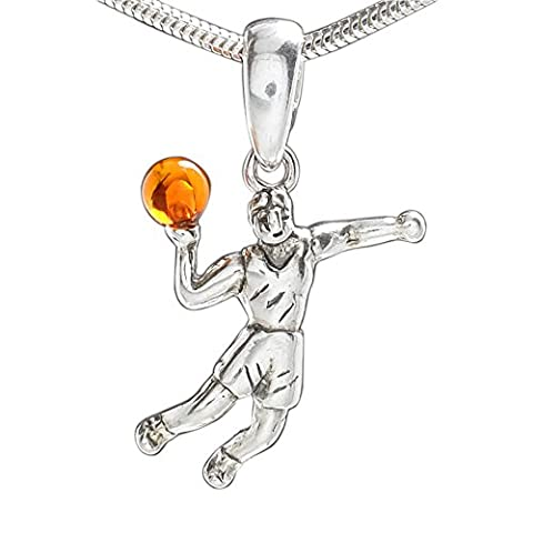 Handball Spieler Kinder Halskette Anhänger Naturbernstein Ball mit Schlangenkette,Ketten Anhänger aus 925 Sterling Silber für fußballbegeisterte Kinder #149