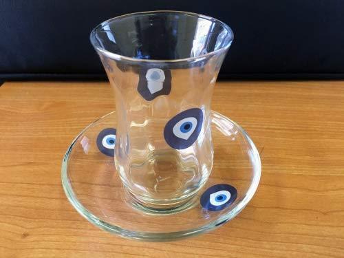 12Teegläser Evil Eye gemustert Nazar Design Türkische Tee Glas Cay Bardagi Tassen Untertassen aus Großbritannien