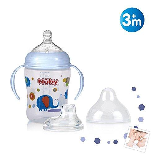 Nûby ID68003 Weithalsflasche aus PP mit Griff, 6 Monate, mehrfarbig