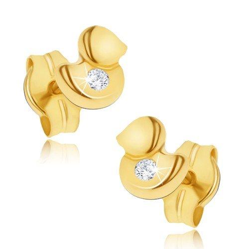 5 Goldohrringe, Ohrringe aus 14K Gold, Ohrstecker in 585 Gelbgold, winzige Enten, Damenohrringe, Kinderohrstecker, klarer Zirkonia, gepunzt, 0.4g ()