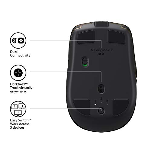 Logitech MX Anywhere 2 AMZ Wireless Bluetooth Mouse for Windows and Mac - Black Img 4 Zoom