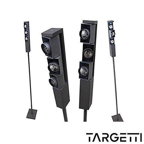 TARGETTI 1T0999 PRIETTORE MULTIPLO COMPLETO DI TRE LAMPADE ALOGENE ALLO XENON 12V max 35W o LED COLORE ALL.-TITANIO